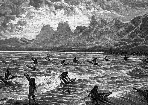 origines du surf dessin